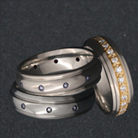 Titanium Rings with Diamonds