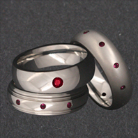 Titanium Rings with Rubies