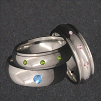 Titanium Rings with Colorful Synthetics
