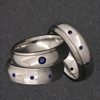 Titanium Rings with Blue Sapphires